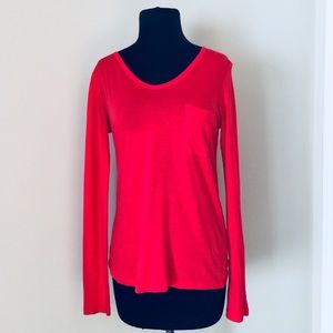 Theory Red Pocket Tee Long Sleeve MSRP $115